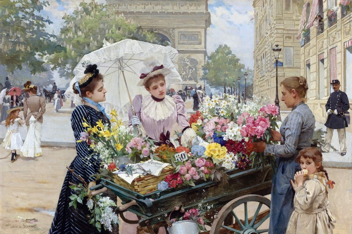 """The Flower Seller"" at Champs-Élysées by Louis Marie de Schryver"